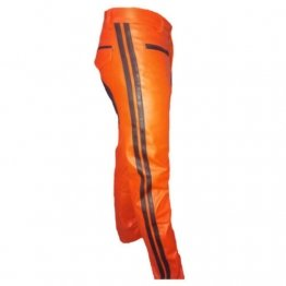 Mens Contrast Panels Real Orange Leather Bikers Leather Pants