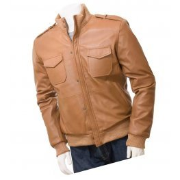 Mens Cool Slim Fit Genuine Brown Leather Bomber Jacket