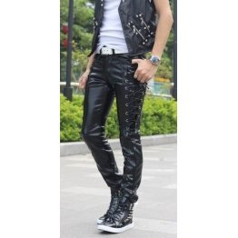 Mens Corset Style Lacing Black Leather Straight Trousers Pants