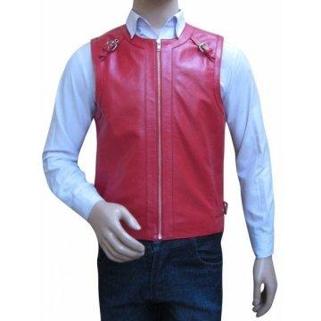 Mens Custom Design Pink Leather Gladiator Vest