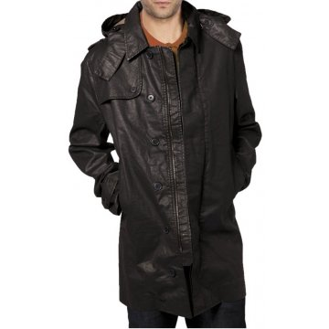Mens Custom Made Hooded Black Leather Trench Coat