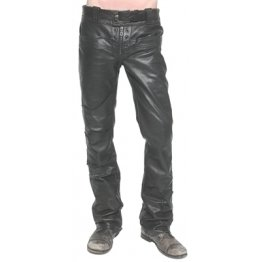 Mens Custom Made Junker Designs Black Leather Pants