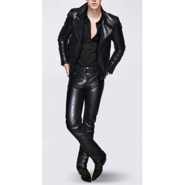 Mens Designer Black Leather Motorcycle Biker Pants Trousers