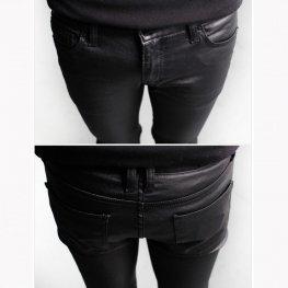 Mens Designer Black Leather Motorcycle Biker Pants Trousers