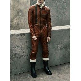 Mens Designer Genuine Lambskin Brown Leather Jumpsuit Catsuit