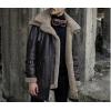 Mens Double Collar Flight Aviator Brown Leather Fur Coat