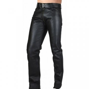 Mens Double Slider Zip Pure Black Leather Gay Pants