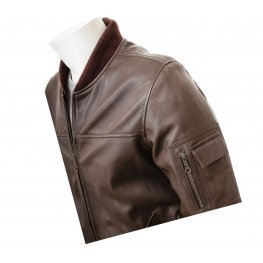 Mens Elegant Dark Brown Pure Leather Bomber Jacket