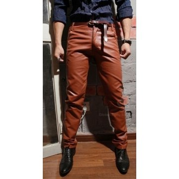 Mens Elegant Real Brown Leather Slim Trousers Pants