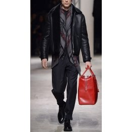 Mens Fall Fashion Black Leather Coat with Fur
