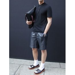 Mens Fashion Black Leather Short Outerwear