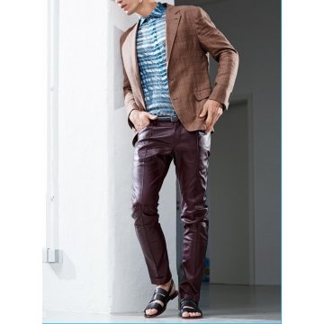 Mens Fashion Genuine Real Leather Straight Pants
