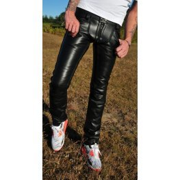 Men's Fashion Low Waist Tight Fit Genuine Leather Jeans