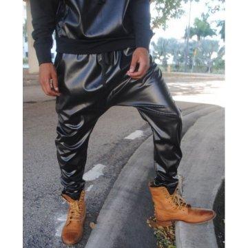 Mens Fashion Perforated Black Leather Drop Crotch Harem Pants
