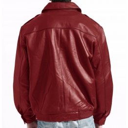 Mens Fashion Real Red Leather bomber Jacket Coat