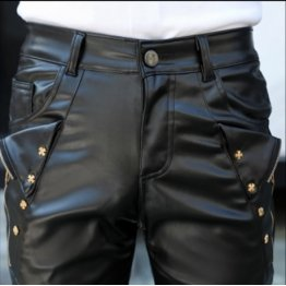 Mens Fashion Regular Fit Pure Black Leather Motorcycles Pants