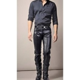 Mens Fashion Slim Fit Genuine Black Leather Pant