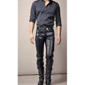 Mens Fashion Slim Fit Genuine Black Leather Pant