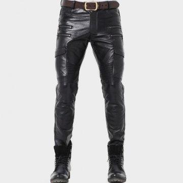 Mens Fashion Zipper Straight Skinny Genuine Black Leather Pants
