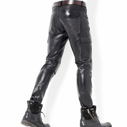 Mens Fashion Zipper Straight Skinny Genuine Black Leather Pants