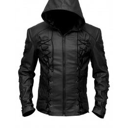 Mens Fashionable Hooded Genuine Black Leather Jacket