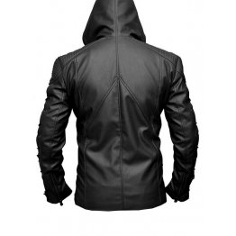 Mens Fashionable Hooded Genuine Black Leather Jacket