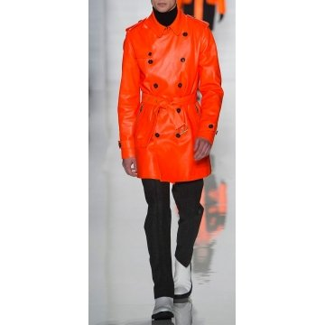 Mens Genuine Soft Lambskin Orange Leather Coat