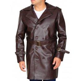 Mens Genuine Leather Dark Brown Trench Coat