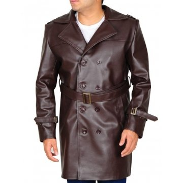 Mens Genuine Leather Dark Brown Trench Coat