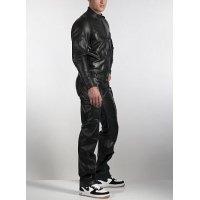Mens Genuine Pure Black Leather Full Jumpsuit