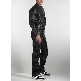 Mens Genuine Pure Black Leather Full Jumpsuit