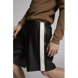 Mens High waisted Loose Fit Real Black Leather Shorts