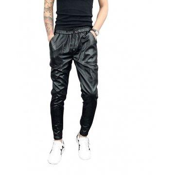 Mens Hip Hop Elastic Waist Genuine Black Leather Harem Joggers Pants