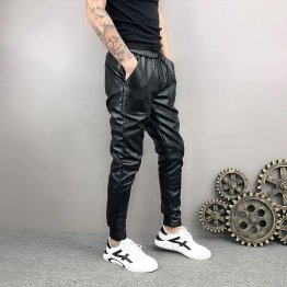 Mens Hip Hop Elastic Waist Genuine Black Leather Harem Joggers Pants