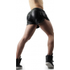Mens Hot Three Button Real Black Leather Shorts