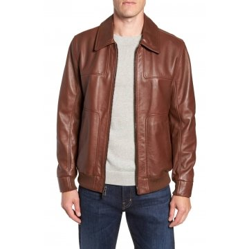 Mens Ideal Fit Spread Collar Brown Leather Bomber Jacket