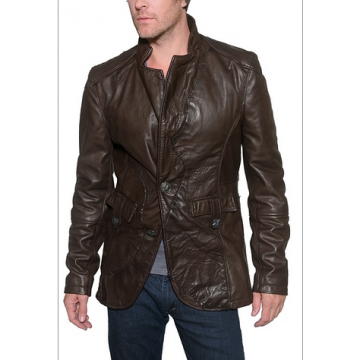 Mens Vintage Brown Designer Leather Blazer