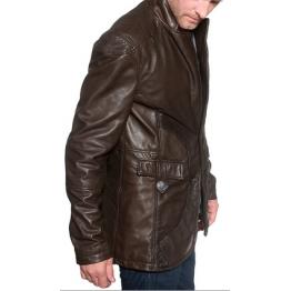 Mens Vintage Brown Designer Leather Blazer