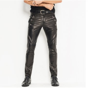 Mens Skinny Tight Smooth Black Leather Moto Pants Trousers