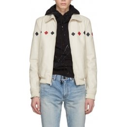Mens Long sleeve Real Cream White Leather Bomber Jacket