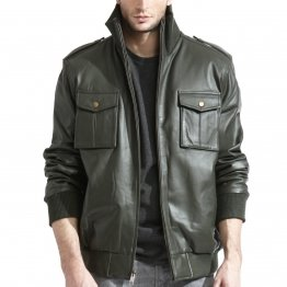 Mens Military Inspired Black Lambskin Leather Bomber Jacket