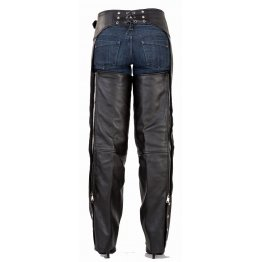 Mens Naked Pocket Black Leather Riding Chaps