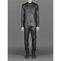 Mens New Cross Flight Black Leather Jumpsuit with Zip Details