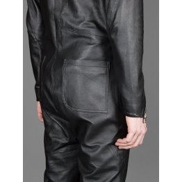 Mens New Cross Flight Black Leather Jumpsuit with Zip Details