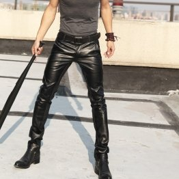 Mens Nightclub Genuine Black Leather Motorcycle Trousers Pants