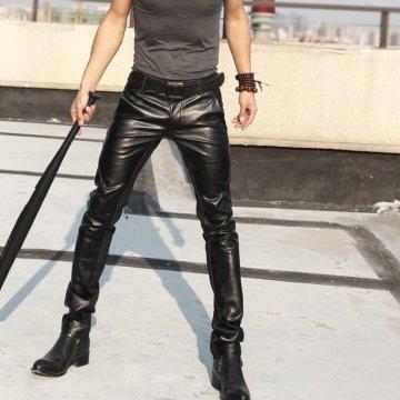 Mens Nightclub Genuine Black Leather Motorcycle Trousers Pants