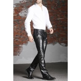 Mens Officewear Skinny Real Black Leather Pants Trousers