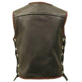 Mens Brown Motorcycle Leather Vest Jacket
