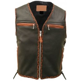 Mens Orange Black Braiding Motorcycle Leather Vest
