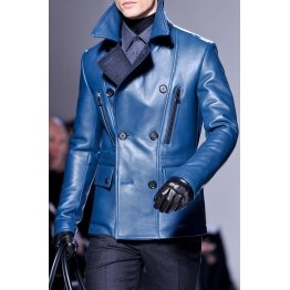 Mens Winter Warm Pure Blue Leather Coat